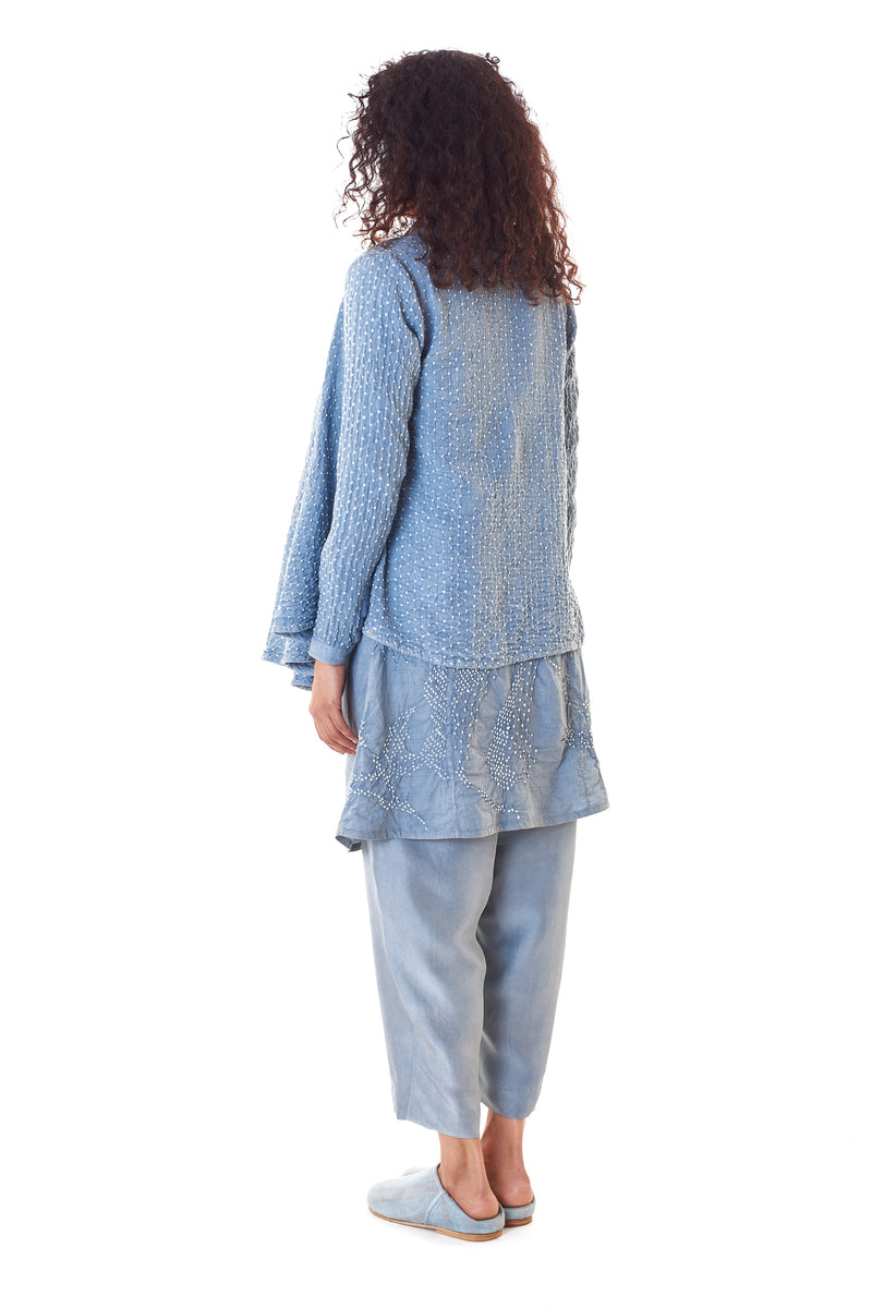 INDIGO FLARED BANDHANI SHRUG ORGANIC COTTON