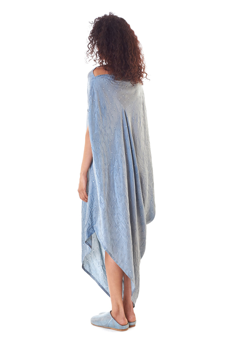 INDIGO ASYMMETRICAL DRAPED BANDHANI DRESS FINE MULBERRY SILK