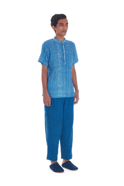 INDIGO HALFSLEEVE MEN'S BANDHANI SHIRT ORGANIC  COTTON
