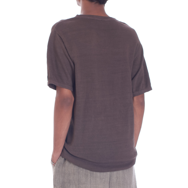 SMOKED HANDSPUN KNIT HALF SLEEVE T-SHIRT