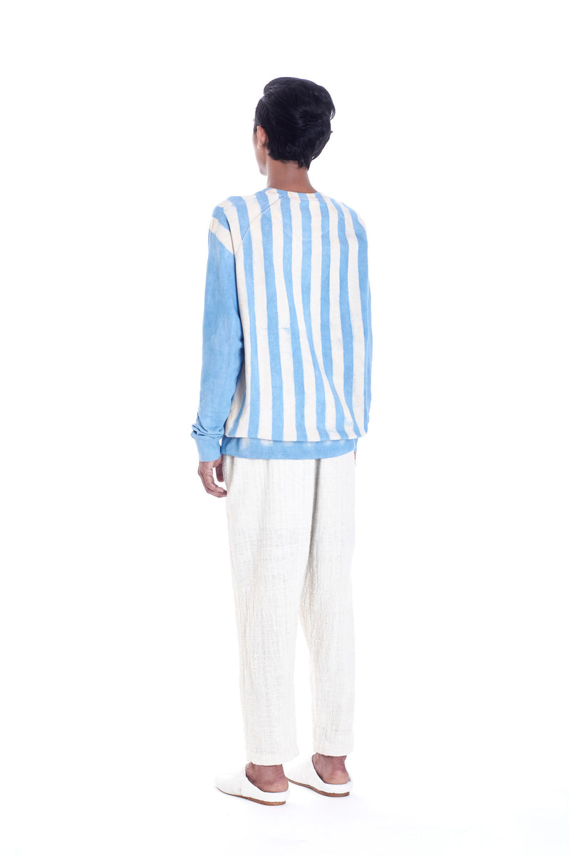 INDIGO DYED STRIPE ORGANIC COTTON SWEATSHIRT