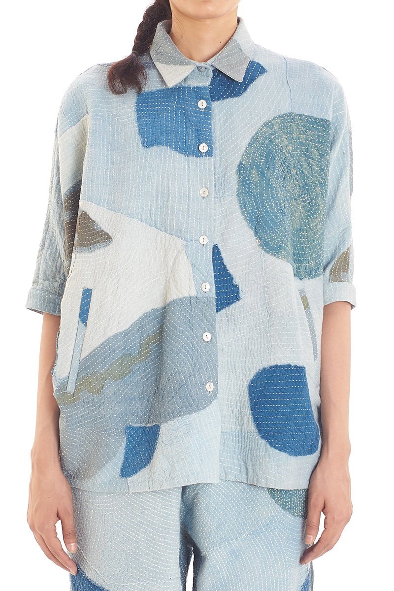 INDIGO LOOSE FIT PATCHWORK SHIRT