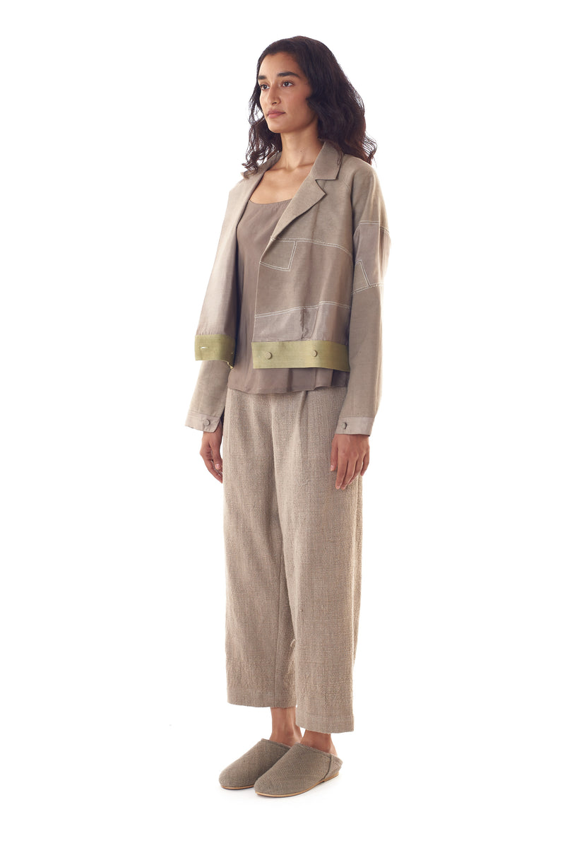 RELAXED FIT ORGANIC COTTON TROUSERS: Rustic Elegance