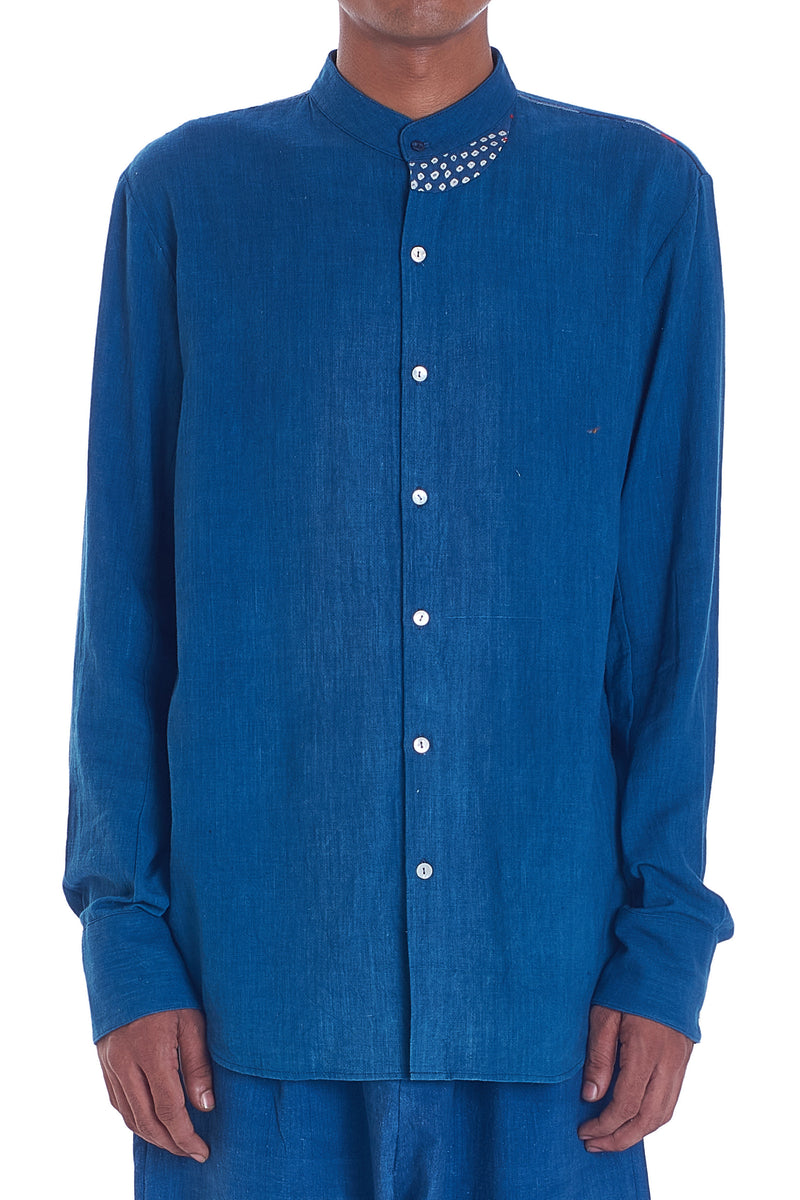 INDIGO PATCHWORK SHIRT ORGANIC COTTON