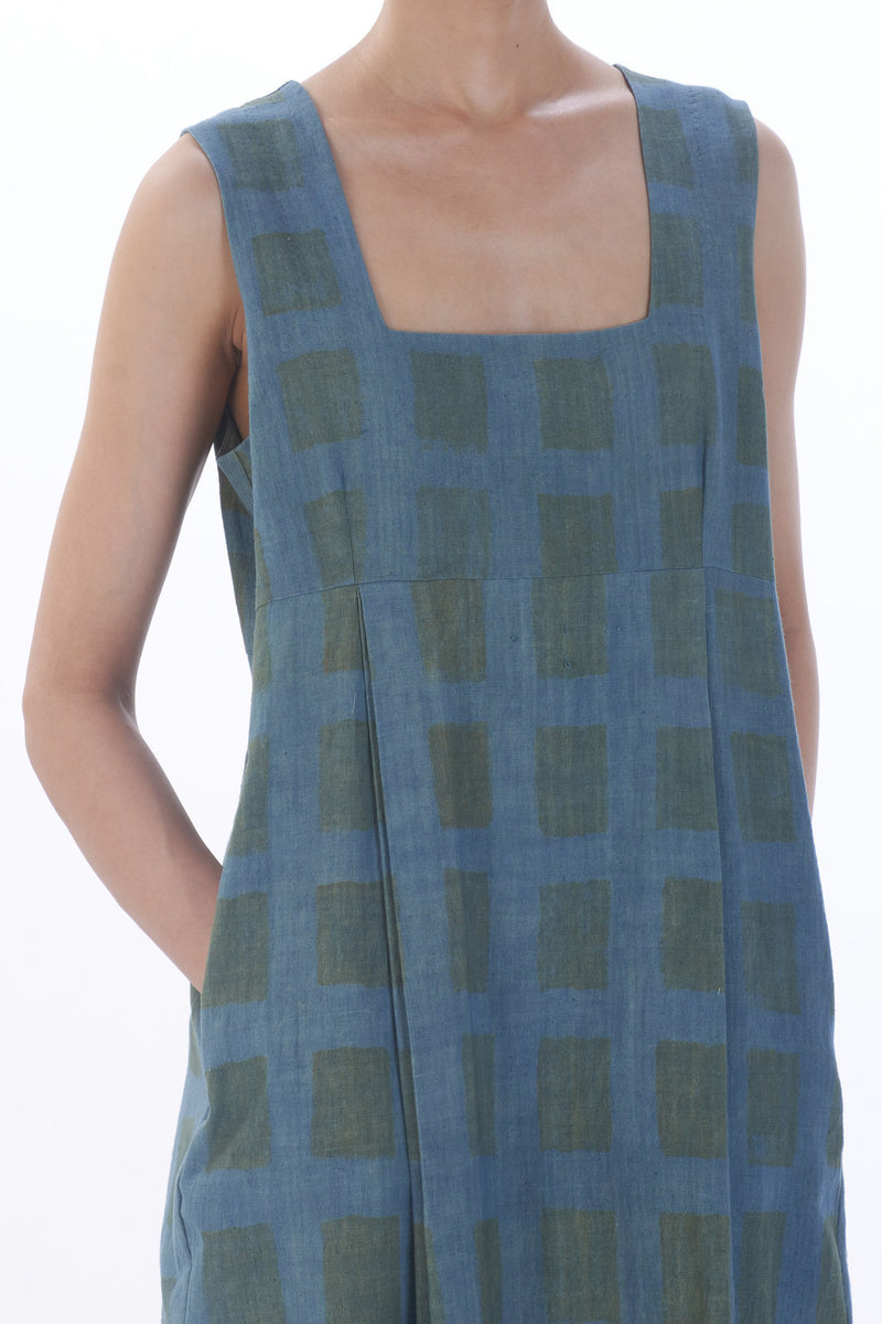 HANDPAINTED CHECK SLEEVELESS DRESS ORGANIC COTTON