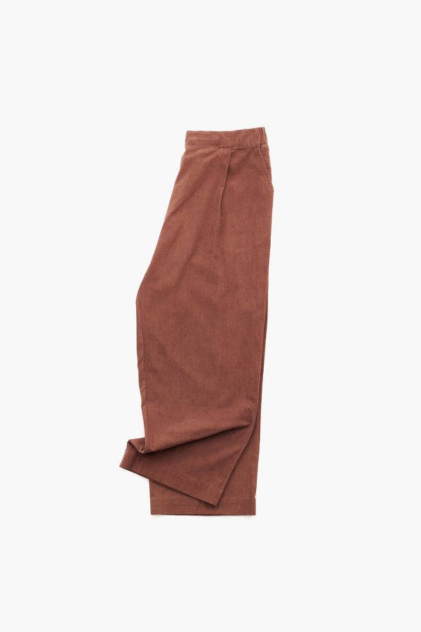 BRICK RED ORGANIC COTTON TROUSERS