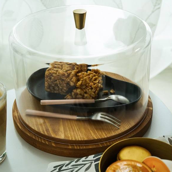 Elowen Wooden Cake Tray with Clear Cover