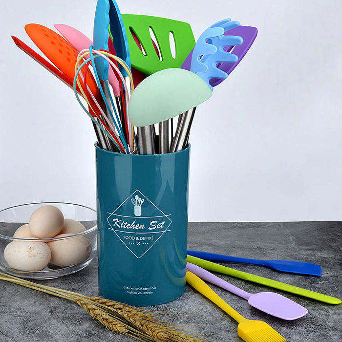 14-piece Silicone Kitchen Utensil w/ Metal Handle Set