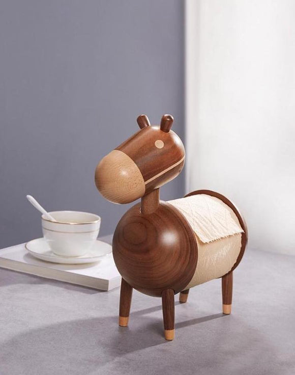 Wooden Donkey Tissue Holder