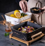 Onix Square Serving Dish with Wooden Base