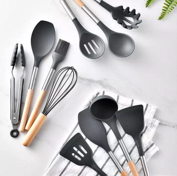 11-piece Silicone Kitchen Utensil w/ Wooden Handle Set