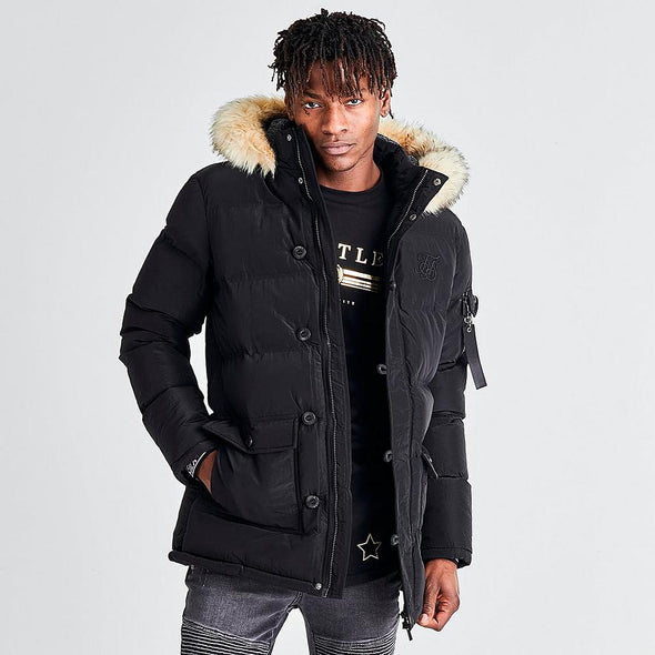Men's SILKSILK Long Parka Black Jacket