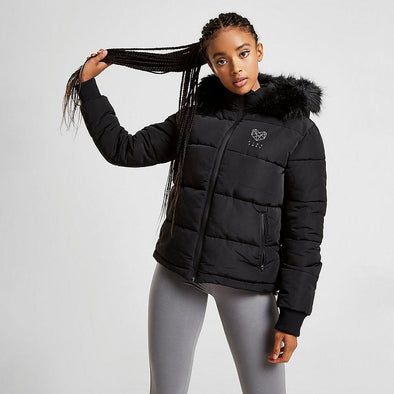 Women's Pink Soda Sport Faux Fur Trim Puffer Black Jacket