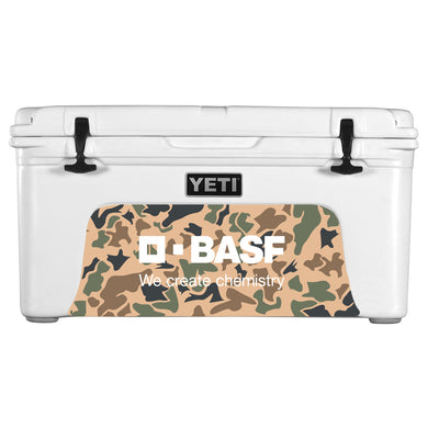 White YETI Cooler w/ BASF Camo Decal