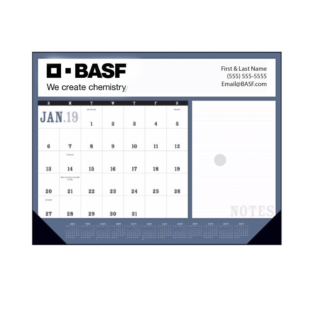 2019 Desk Calendar Pad with Vinyl Corners (Bulk Order)