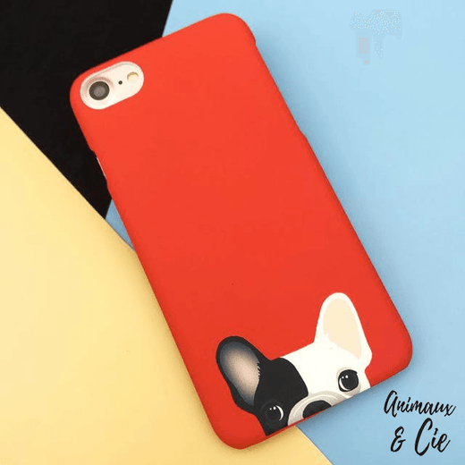 coque iPhone rouge chien chihuahua