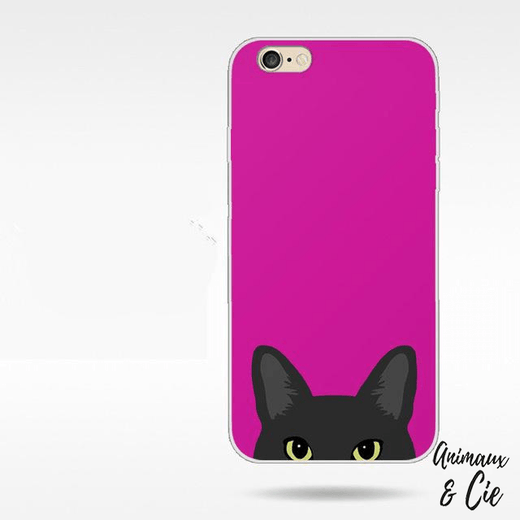 Coque iPhone rose chat noir