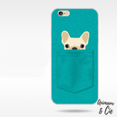 Coque iPhone verte chien chihuahua