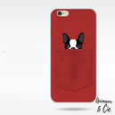 Coque iPhone rouge chien bulldog