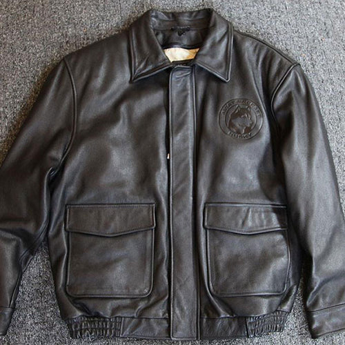 Husky Leather Bomber Jacket - Black