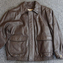 Husky Leather Bomber Jacket - Brown