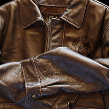 Husky Leather Bomber Jacket - Brown Shearling