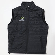 Husky Brand Puffy Vest, Black with Olive Embroidery