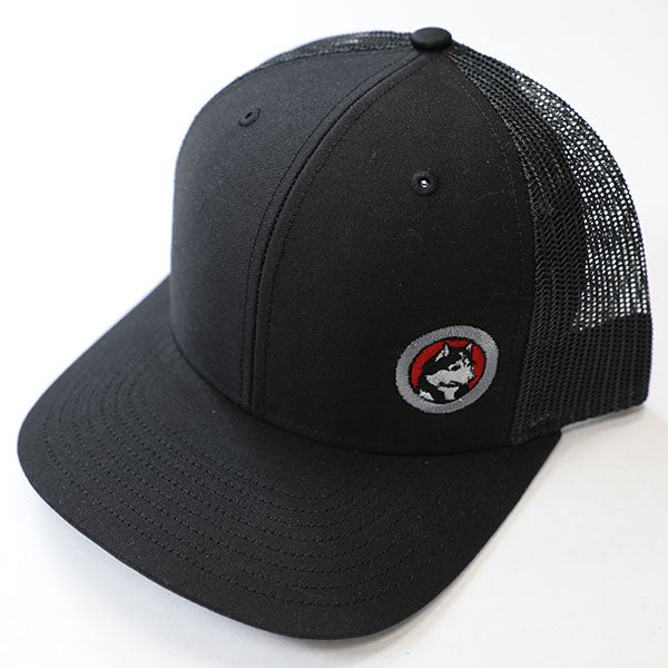 Husky Logo Trucker Snapback Cap, Black with Red Embriodery
