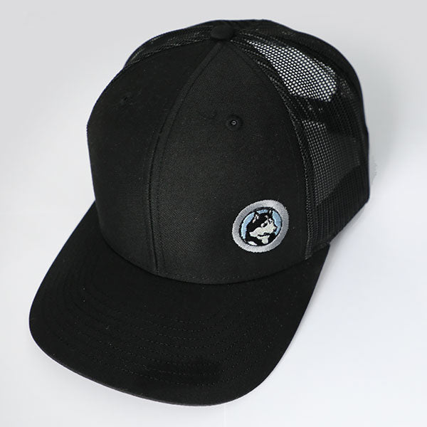 Husky Logo Trucker Snapback Cap, Black with Blue Embriodery