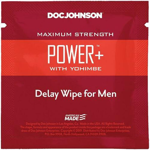 Doc Johnson Power Delay with Yohimbe Delay Wipe For Men