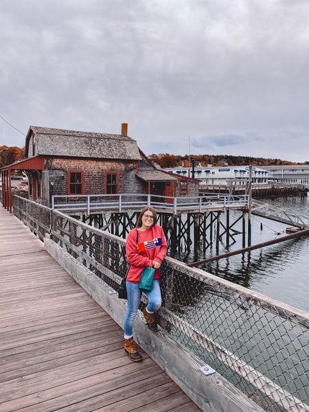 Lianne in her Paul Landry creneck sweater in Boothbay, Maine