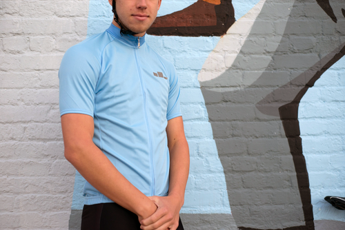 Corbah Solid Baby Blue Cycling Jersey