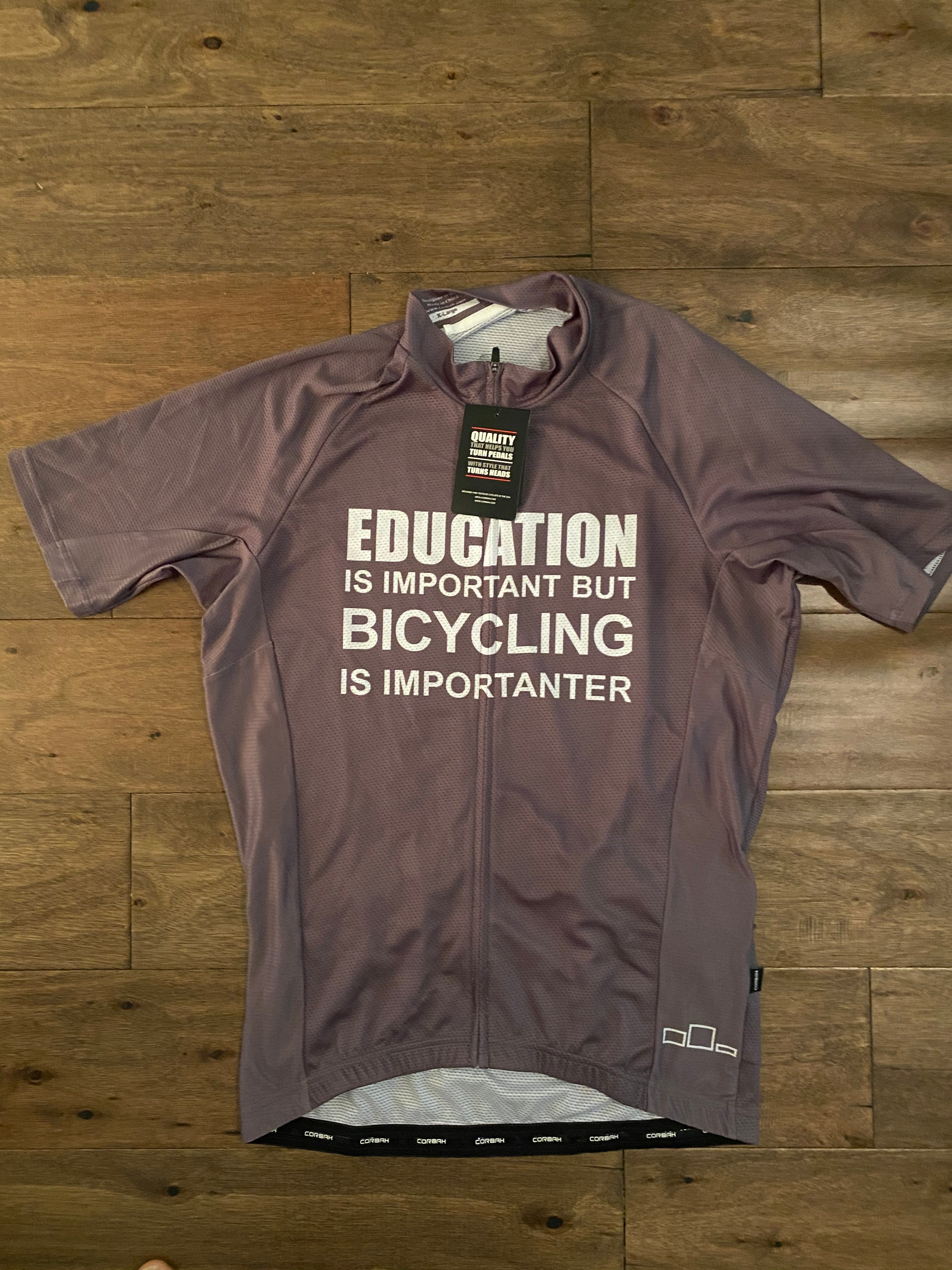 Education is Important but Bicycling is Importanter Short Sleeve Cycling Jersey