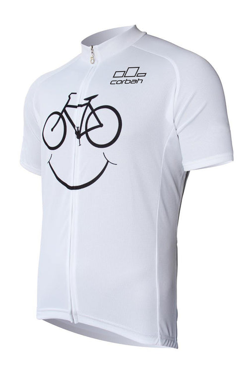 Bicycle Face White Short Sleeve Cycling Jersey