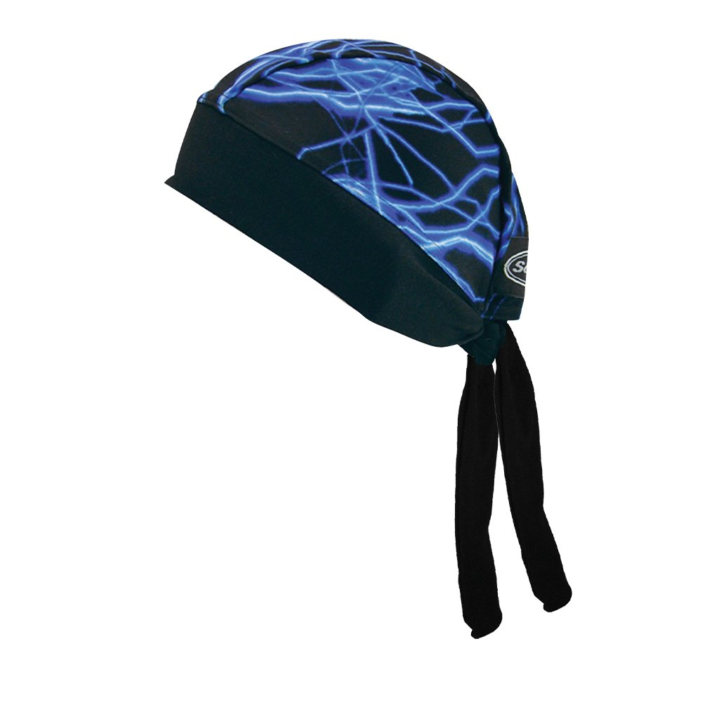 SCHAMPA Stretch Headwrap: Blue Lightning Bolt