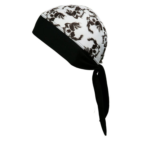 SCHAMPA Stretch Headwrap: White Skull