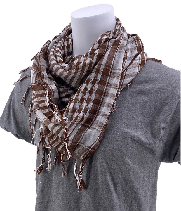 SCHAMPA Cafe Scarf - Brown & White