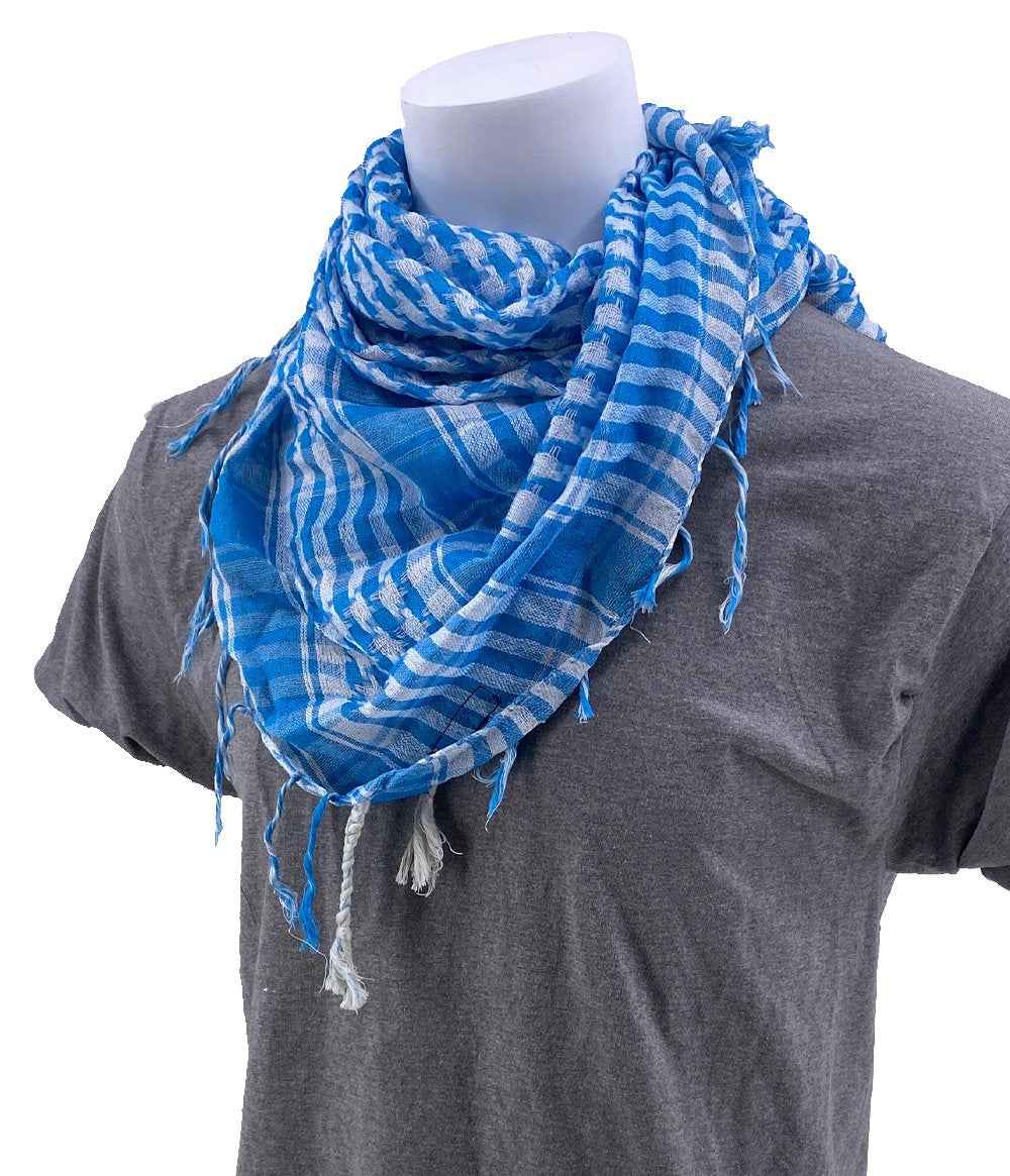 SCHAMPA Cafe Scarf - Sky Blue & White