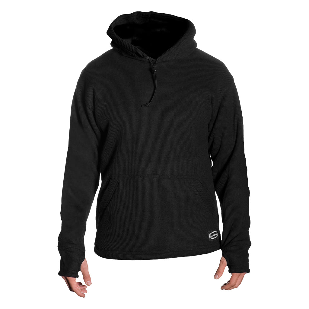 SCHAMPA Old School Thermal Fleece Lined Hoodie: Black
