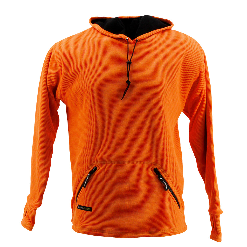 SCHAMPA Old School Thermal Fleece Lined Hoodie: Neon Orange