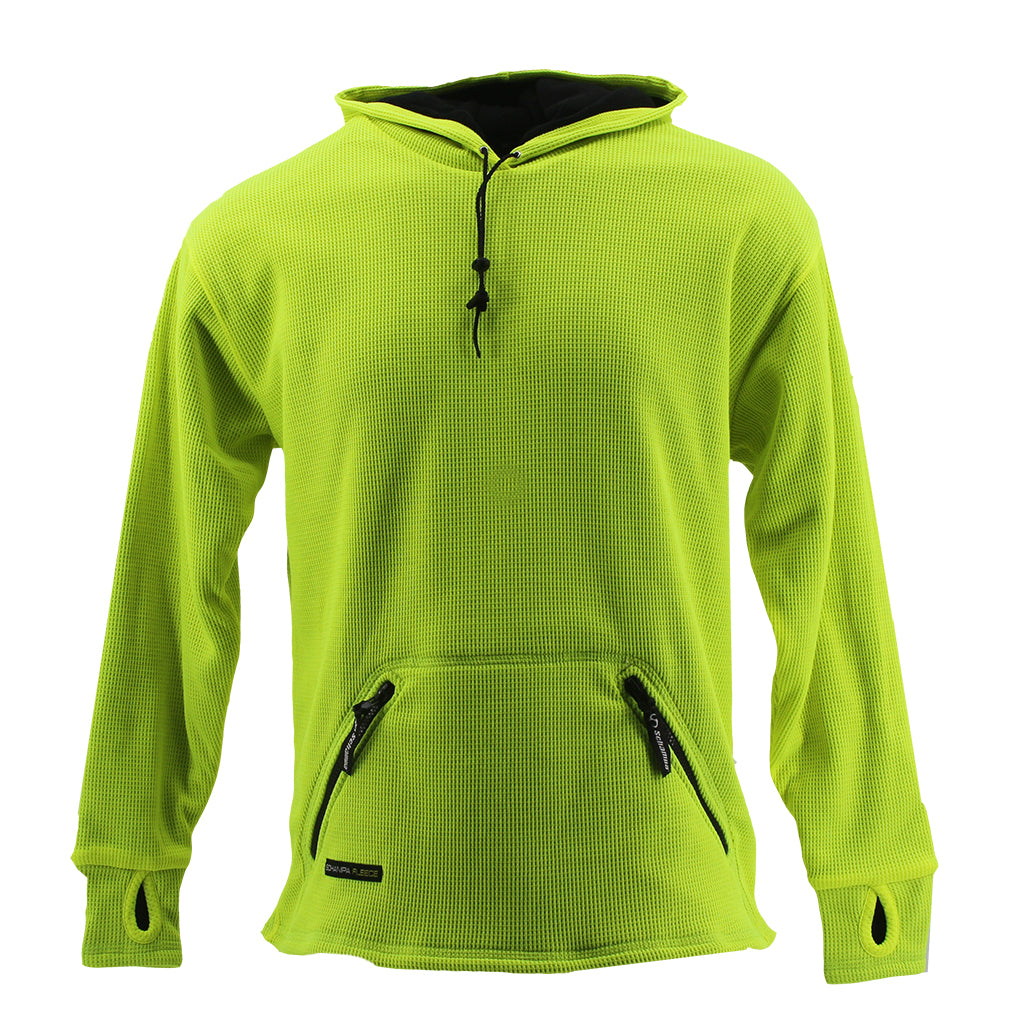 SCHAMPA Old School Thermal Fleece Lined Hoodie: Neon Yellow