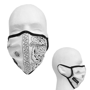 SCHAMPA 100% Cotton Facemask - White Paisley