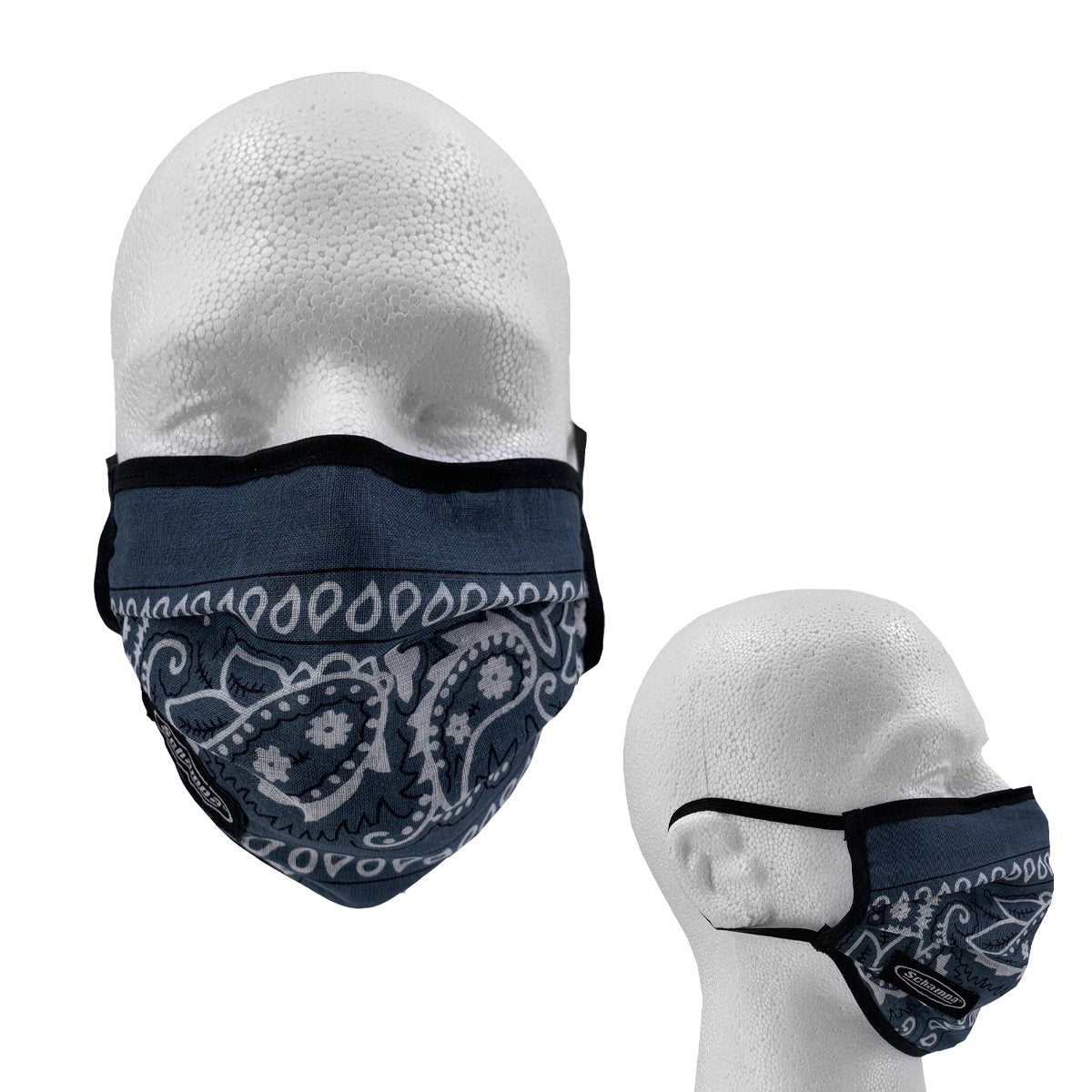 SCHAMPA 100% Cotton Facemask - Dark Grey Paisley