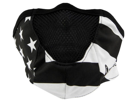 SCHAMPA Stealth Facefit Facemask - Patriot Traditional Black & White Flag