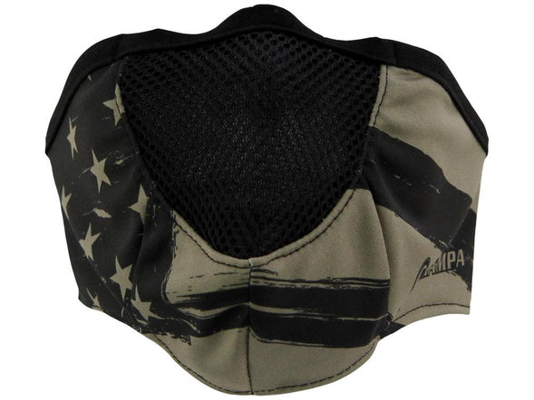 SCHAMPA Stealth Facefit Facemask - Patriot Distressed Tan & Black Flag