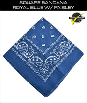 SCHAMPA Square Bandana - Royal Blue w/ Paisley