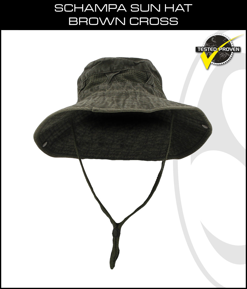 SCHAMPA Sun Hat - Dark Green  w/Mesh -Cross