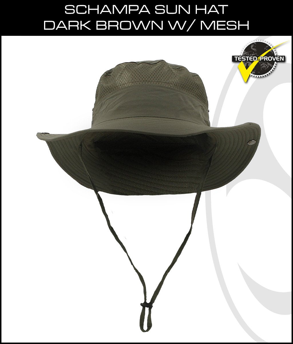 SCHAMPA Sun Hat - Dark Brown w/ Mesh