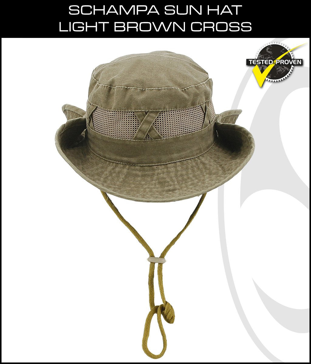 SCHAMPA Sun Hat - Light Brown w/ Mesh