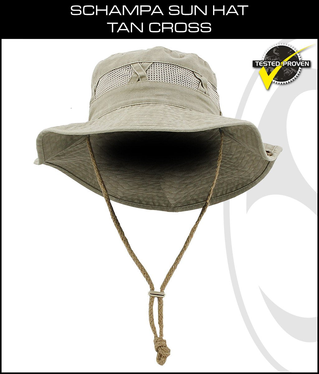SCHAMPA Sun Hat - Tan Cross